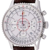 Breitling Montbrillant 01 pre-owned 40mm Silver Chronograph Date Crocodile skin