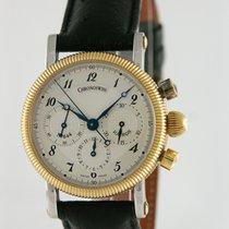 Chronoswiss Chronograph 34mm Handaufzug 1998 gebraucht Silber