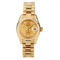 Rolex Yellow gold Automatic Mother of pearl No numerals 26mm pre-owned Lady-Datejust