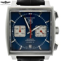 TAG Heuer Monaco Calibre 12 pre-owned 39mm Blue Chronograph Date Crocodile skin
