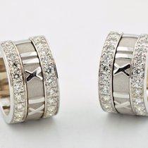 Tiffany & Co Atlas 18k White Gold Diamond Huggie Hoops...