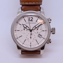 Burberry Utilitarian Swiss Chronograph Tan Leather Strap 42mm...
