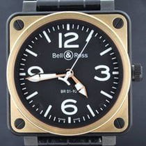 Bell & Ross Aviation  Pink Gold, Leather Black Strap 46MM Full...