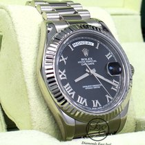 Rolex Day-Date II Bjelo zlato 41mm Crn Rimski brojevi
