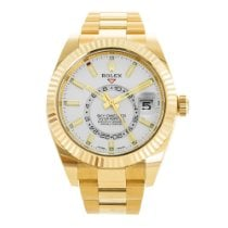 Rolex Yellow gold Automatic White 42mm pre-owned Sky-Dweller