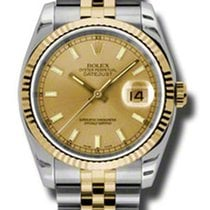 Rolex Datejust 116233 Jubilee Champagne Dial 36mm Steel/Gold New