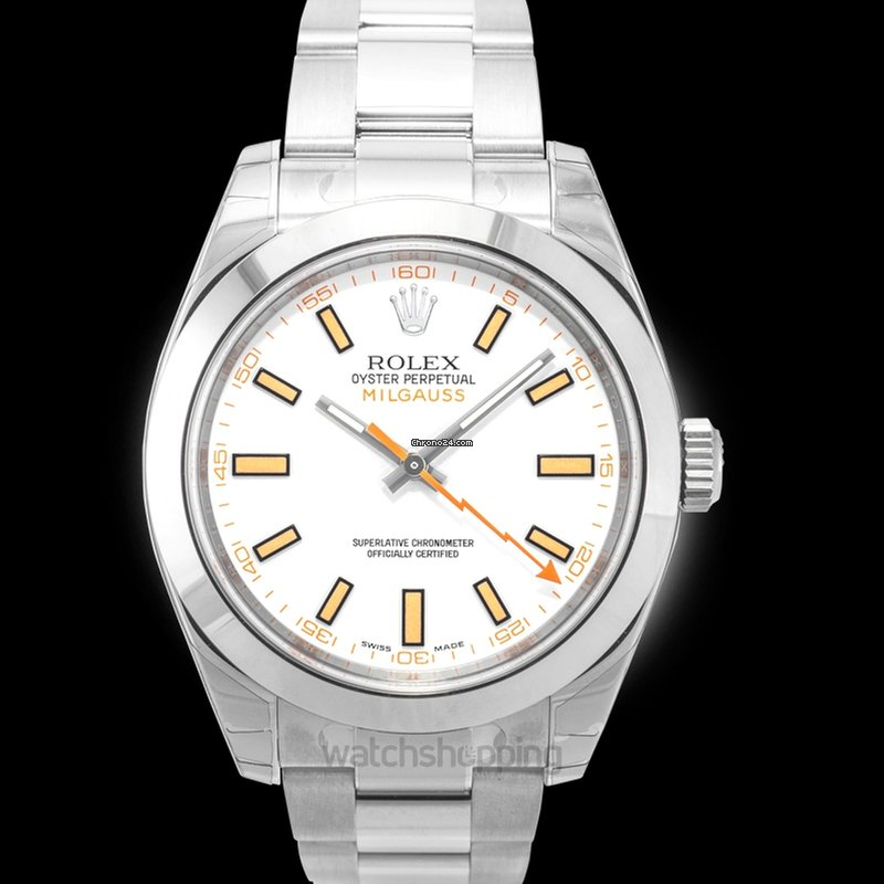 Rolex Milgauss White Dial Stainless Steel Oyster Bracelet Automati