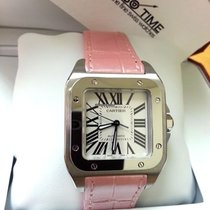 Cartier W20126X8 Santos 100 Medium Size Automatic Pink Strap...
