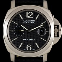 Panerai 18k White Gold Carbon Fibre Dial Luminor Marina B&P...