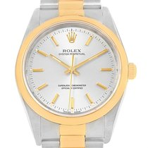 Rolex Oyster Perpetual Steel Yellow Gold Mens Watch 14203 Box...