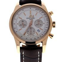 Breitling Transocean Chronograph 18ct Rose Gold Brown Croco