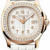 Patek Philippe Ladies Aquanaut Rose Gold White Rubber Strap...