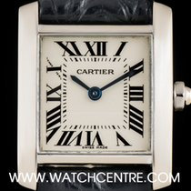Cartier 18k White Gold Silver Roman Dial Tank Francaise Ladies