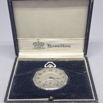 Hamilton 1924 916 12s 17j 14k White Gold Open Face Pocket...