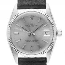 Rolex Datejust Medium Stahl Weißgold Automatik Armband Leder...