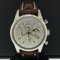 Breitling Transocean pre-owned 43mm Silver Moon phase Date Leather