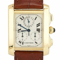 Cartier Tank Française pre-owned 35mm Champagne Date Leather