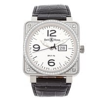 Bell & Ross BR 01-96 Grande Date pre-owned 46mm Silver Date Crocodile skin