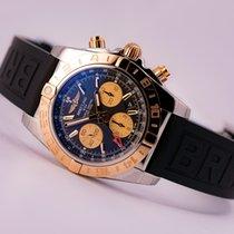 Breitling Chronomat 44 GMT 18kt gold/SS Black Dial,  Diver Pro...