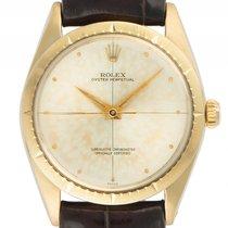 Rolex Oyster Perpetual Gelbgold Automatik Armband Leder 34mm...