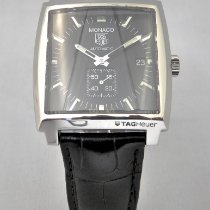 TAG Heuer Monaco Calibre 6 Staal 37mm Zwart Geen cijfers