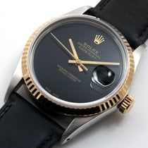 Rolex 18K/SS  DATEJUST Custom Black Onyx - Leather Band -...