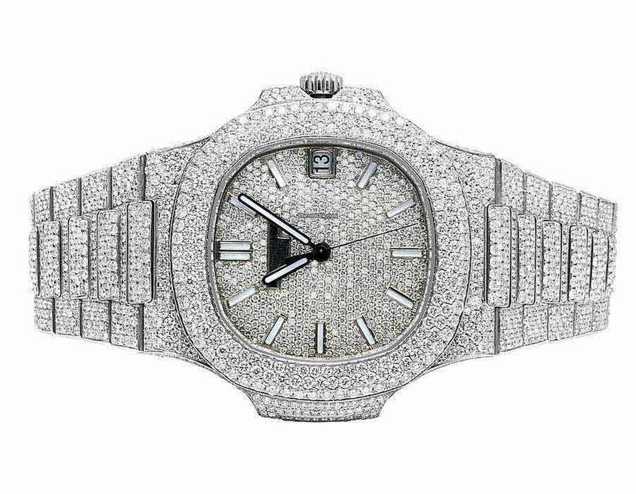 Conception innovante 76ac0 c9dc1 Patek Philippe Mens Nautilus 5711/1A Steel Pave Set VVS Diamond Watch 26.5  Ct