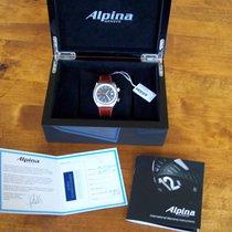 Alpina Startimer Pilot Heritage gebraucht 42mm Schwarz Datum GMT/Zweite Zeitzone Rindsleder