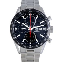 TAG Heuer Carrera Calibre 16 pre-owned 41mm Black Chronograph Date Tachymeter Steel