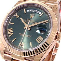 Rolex Rose gold Automatic Green Roman numerals new Day-Date 40