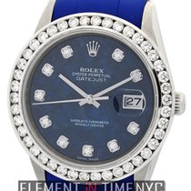 Rolex Datejust 36mm Sodalite Serti Diamond Dial Blue RubberB