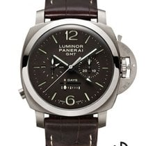Panerai Luminor 1950 8 Days Chrono Monopulsante GMT Titanium 44mm Black Arabic numerals