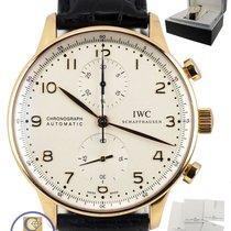 IWC Portuguese Chronograph 18K Yellow Gold White 41mm