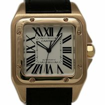 Cartier Rose gold Automatic White Roman numerals 41mm pre-owned Santos 100