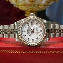 Rolex Lady-Datejust Золото/Cталь 26mm Белый Римские