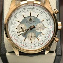 Breitling Transocean Chronograph Unitime pre-owned 46mm White Chronograph Leather