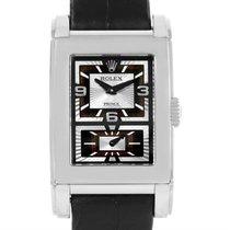 Rolex Cellini Prince Black Dial 18k White Gold Mens Watch 5443