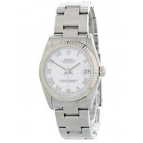 Rolex Steel Automatic White 26mm pre-owned Lady-Datejust