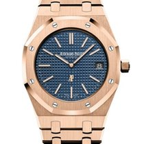 Audemars Piguet Royal Oak Jumbo Roségull 39mm Blå Ingen tall