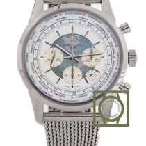 Breitling Transocean Chrono Unitime 46mm White Dial Full Steel...