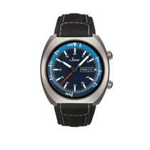 Sinn 240 St GZ sporty watch with interior tide bezel leather...