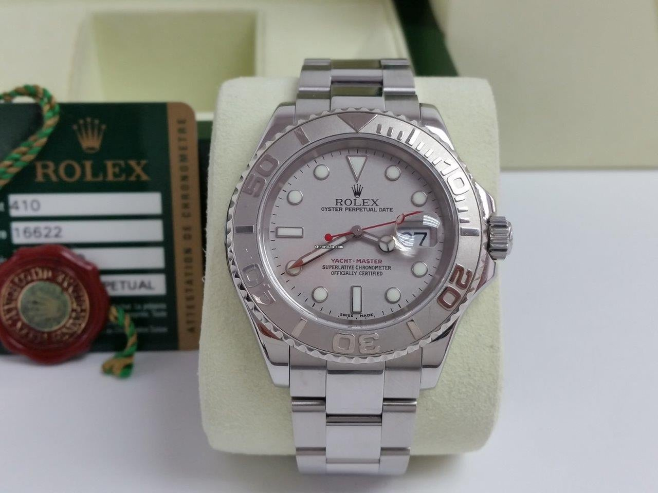 937bded791d Rolex Yacht-Master 40mm Platinum Dial Bezel 2008 Box Warranty Card