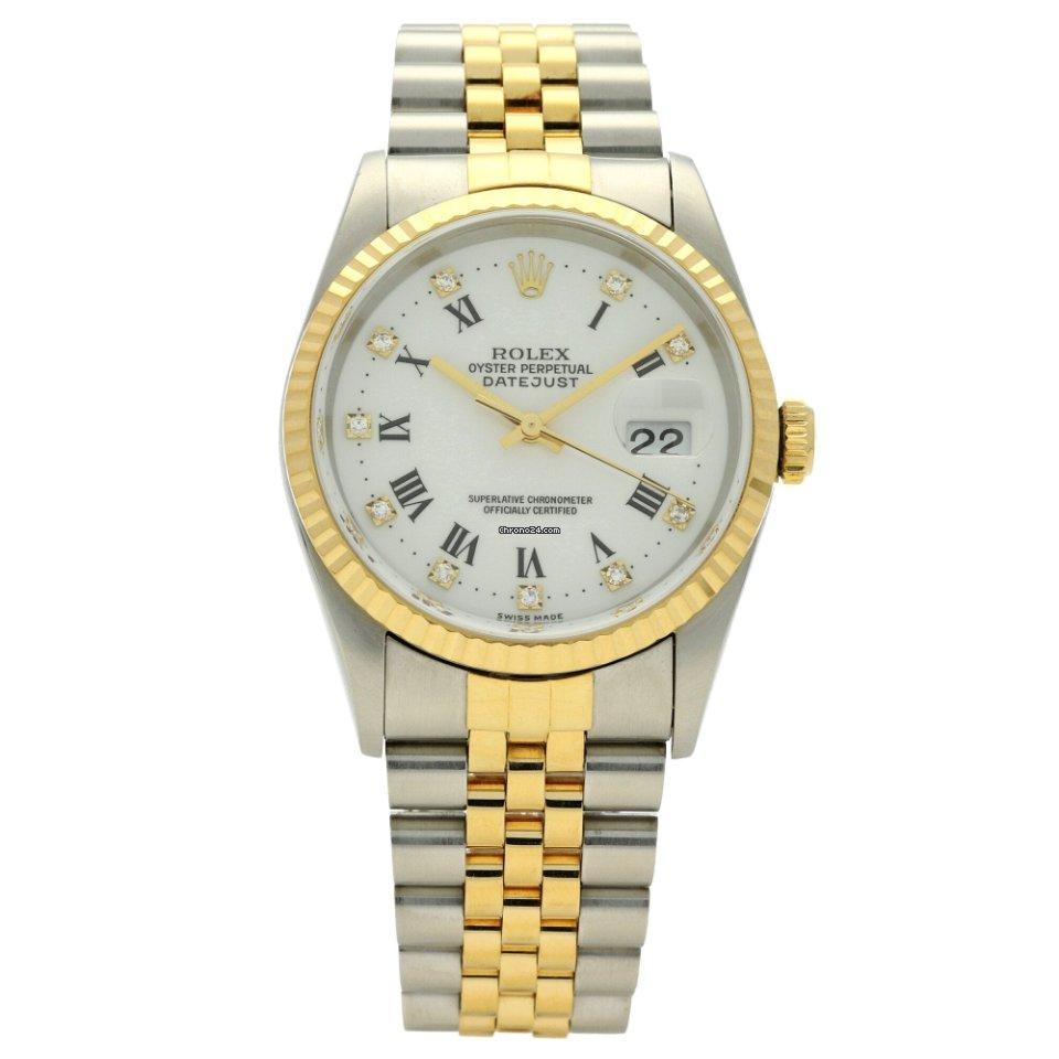 White Rolex 16233 Diamond Datejust 1995 Dial PwOX0k8n