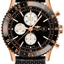 Breitling Rose gold Automatic Black No numerals 46mm new Chronoliner