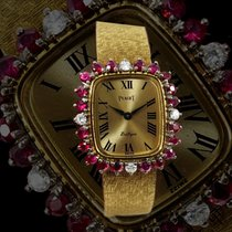 Piaget 1970s Rare Ruby & Diamond Set 18 Kt Yellow Gold Wristwatch 1970 pre-owned