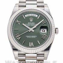 Rolex Oro blanco Automático Verde Romanos 40mm nuevo Day-Date 40