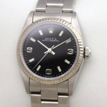 Rolex Oyster Perpetual 31 77014  Weissgold Stahl Mid Size Perpetual schwarz black 2002 usados