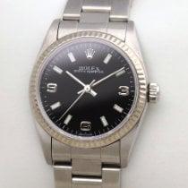 Rolex Oyster Perpetual 31 77014  Weissgold Stahl Mid Size Perpetual schwarz black 2002 gebraucht