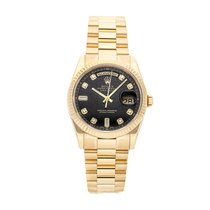 Rolex Day-Date 36 Žluté zlato 36mm Černá Bez čísel