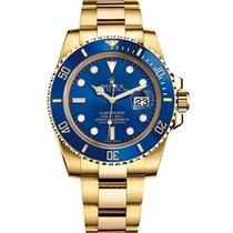 Rolex Submariner Date Gelbgold 40mm Blau Keine Ziffern